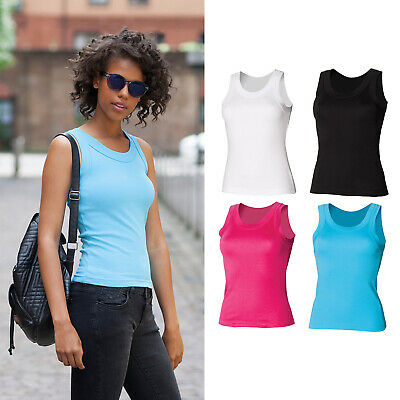 SF Women's Tank Vest (SK016) - Sleeveless Plain Fitted Casual Top