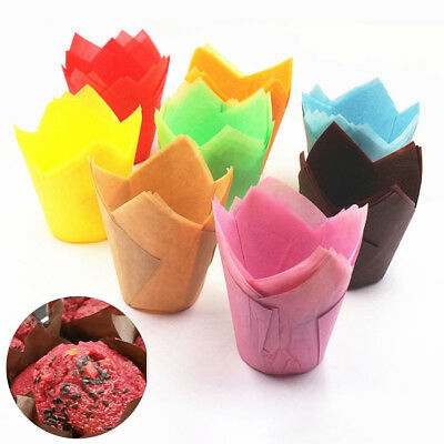 FJ- KQ_ 50Pcs High Temperature Resistant Cake Tulip Muffin Baking Case Liners Fl