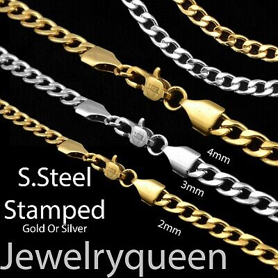 Men Women 316L Stainless Steel 2mm 3mm 4mm Gold Silver Cuban Curb Chain Necklace