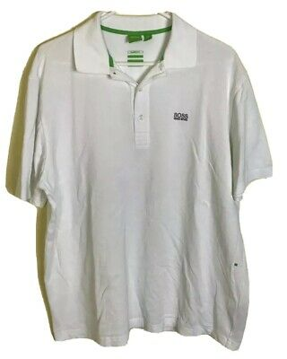 86210a097 Boss Hugo Boss Green Label Classic Fit White Polo Embroidered Logo sz XL  Rare