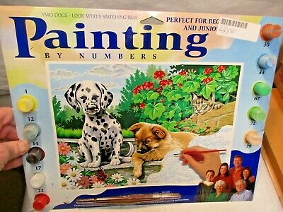 Oasis Art &  Crafts Paint By Number Kit PL35 Two Dogs Look Who's Watching - New