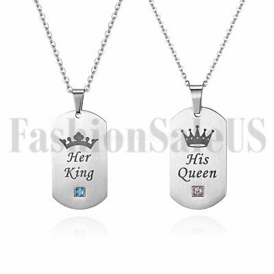 3c17a444fe24a HIS BEAUTY HER Beast Crown Stainless Steel CZ Couples Dog Tag ...