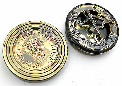 Vintage Brass Pocket Sundial Timer Compass Mary Rose London Compass