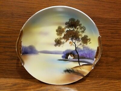 Vintage Noritake Hand Painted 9 1/2''  Plate with Gold Trimmed Handles
