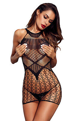 ce5c0afee Sexy Black Sheer Multinet Chemise Stripper Mini Dress Forplay Lingerie S M