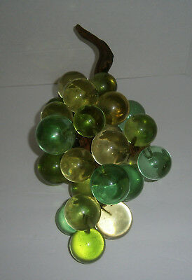 Mid Century Extra Large 60's Acrylic Lucite Green 30 Grapes Cluster Branch