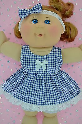 """Play n Wear Doll Clothes For 14"""" Cabbage Patch GINGHAM DRESS~BLOOMERS~HEADBAND"""