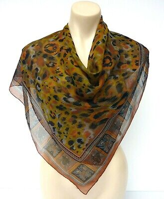 Country Road Silk Chiffon Scarf Earthy Colors Animal Print Made in Italy Collect