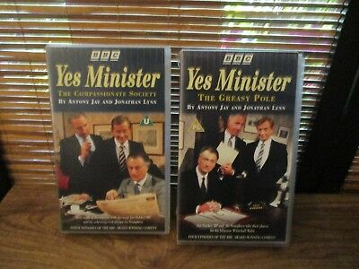 Yes Minister Greasy Pole / Compassionate VHS Video Tapes Set of Two Videos