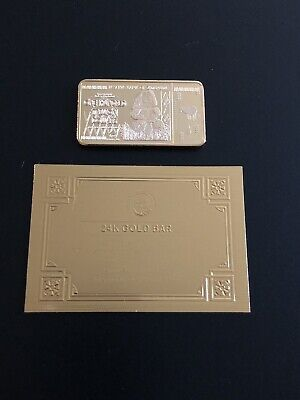 Zimbabwe 100 Trillion Dollar Gold Plated Bar + Certificate/Not REAL Gold