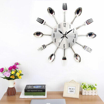 Silver Metal Cutlery Unique Decoration Silent Wall Clock Kitchen Tableware Large