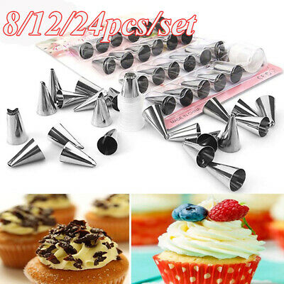 8/12/24 pcs/set Cake Decorative Stainless Steel Icing Piping Nozzles Pastry Tool