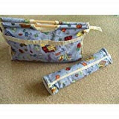 Blue Design Wooden Handle Fabric Knitting Bag and Needle Bag