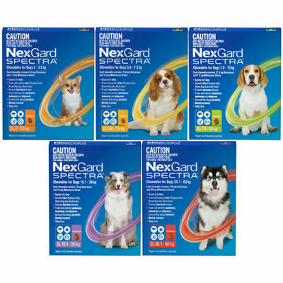 NexGard Spectra For Dogs All in 1 Tick Worm & Flea Treatment 3 packs
