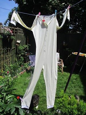 Unisex Cream Colour All in One Cotton Suit For Night wear, Bed Size Medium (NEW)