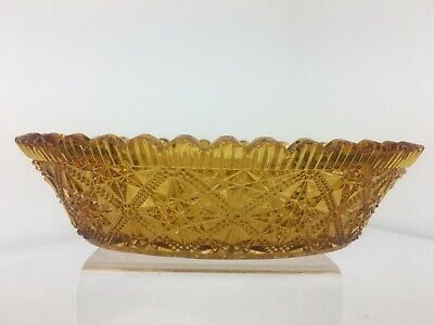 Vintage Amber Glass Oval Bowl / Bonbon Dish - Pretty Shabby Chic