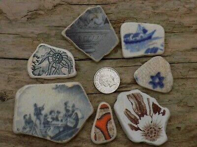 English  Sea Glass  Beach Finds  Victorian  Sea  Pottery   Shards  Floral Cherub