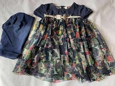Girls TED BAKER Dress Frock & Leggings 2pcs Set Age 3-4 Years ExcellentCondition
