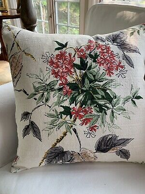 Vintage 1940's Floral Barkcloth Pillow Cover With Abstract Red  Geraniums, Gray