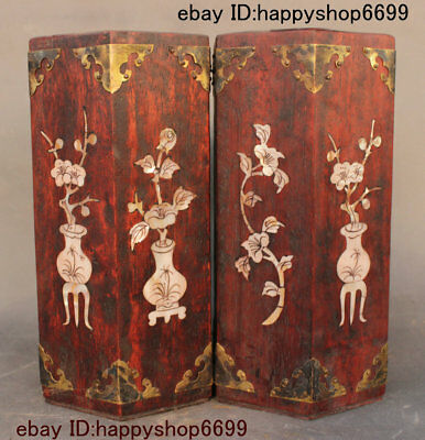Collect Chinese 10 inch Huang Huali Wood Inlay Shell Brush Pot Pencil Vase Pair