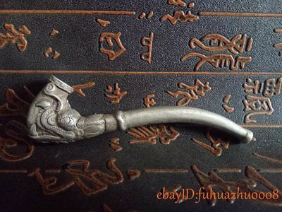 Old Collectibles Decorated Miao Silver Carved Dragon Exquisite Rare Smoking Pipe