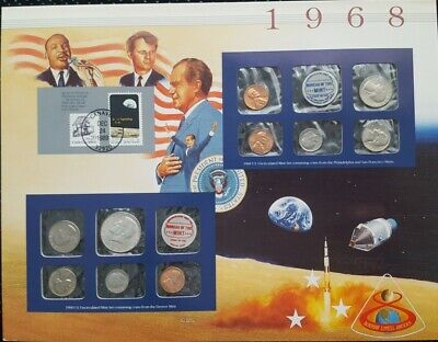 1968 Unique Birthday Coin Mint Sets & Stamp Historical Panel 40% Silver Kennedy
