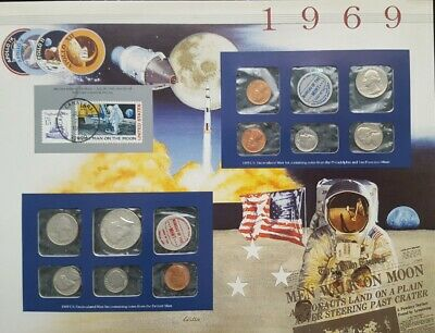 1969 Unique Birthday Coin Mint Sets & Stamp Historical Panel 40% Silver Kennedy