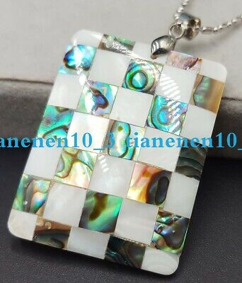 Natural 30x40mm Multicolor Abalone Shell Gemstone Pendant Necklace 17''