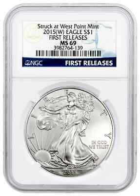 2015 (w) Silver Eagle Struck at West Point Mint NGC MS69 Early Release