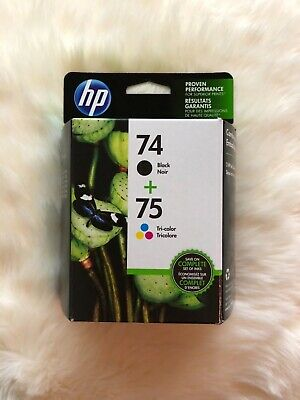 Hp Genuine Combo Pack 74 Black/75 Tri Color Ink (Retail Box) 09/2019