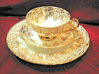 Royal Standard GOLD FILIGREE 3PC Tea Cup SET Fine Bone China ENGLAND
