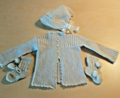 4e4925a24 BABY INFANT HAND KNIT SWEATER, CAP/HAT & BOOTIES~Blue~Vintage 1950's