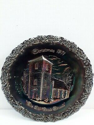 Vintage Fenton 1971 LTD #2 Carnival Glass Collectors Plate Christmas in America