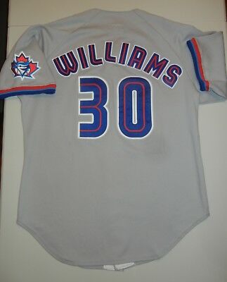 86b41113e GAME USED WORN Wilson WOODY WILLIAMS TORONTO BLUE JAYS 98 Grey Jersey 46  Delgado