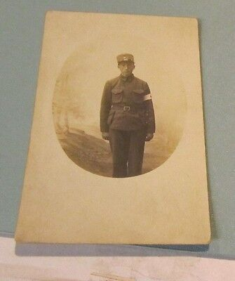 WWI Young Soldier Red Cross Medical Corpsman in Uniform RPPC Real Photo Postcard