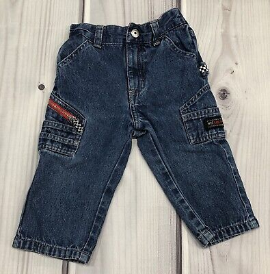 66a4bde1 Boys Infant Toddler Wrangler Carpenter Denim Jeans Racing Size 18 Months EUC