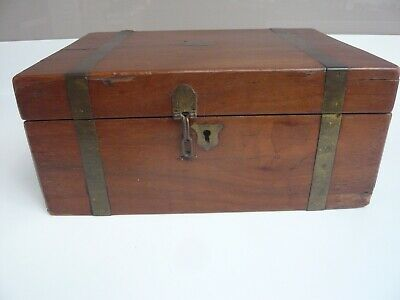 Antique Victorian Mahogany Brass Banded Writing Slope/ Box for Restoration/Parts