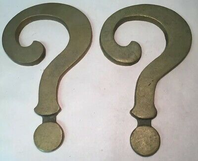 Pair of Vtg Architectural Salvage Sign Parts Letters Pieces Question Marks ?