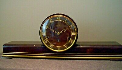 Antique Hermle Oak and Brass Mantel/Table Clock (Westminster Chime Pendulum)