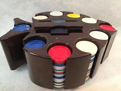 """Vintage Pacific Game Co. Bakelite Poker Chip Caddy Carousel """"Spade"""" or """"Fish"""" Sh"""