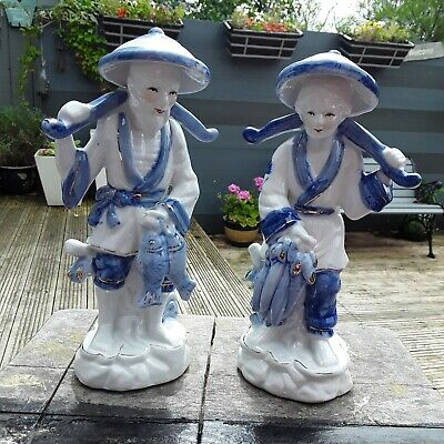 Vintage Oriental Chinese Blue And White Pair Of Figurines/Statues Of Fisherman