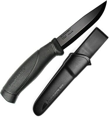 """Mora Companion Fixed Knife 4"""" Stainless Steel Blade Black Rubber Handle 01485"""