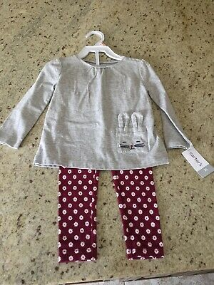 8a6380954 CARTER'S BABY GIRL Fuzzy White Hoodie w/ Ears & Metallic Legging 2pc ...