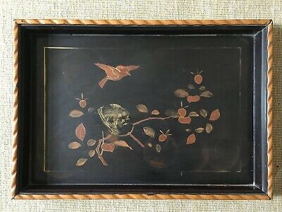 Vintage Antique Chinese Japanese Lacquered Tray Bird Among Flying Tree Fruit