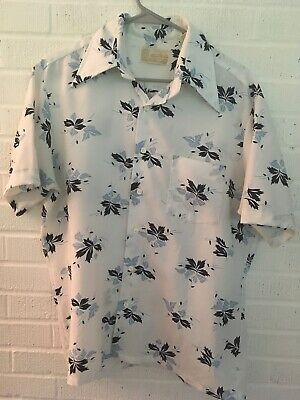 1ee0b6f6 Vintage Kings Road SEARS Polyester Mens Large 16 16.5 Disco Beach Shirt EUC