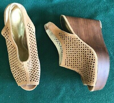 a9d4b58440 COACH CHASITY WOMENS 10B Brown Perforated Suede Peep Toe Clogs ...
