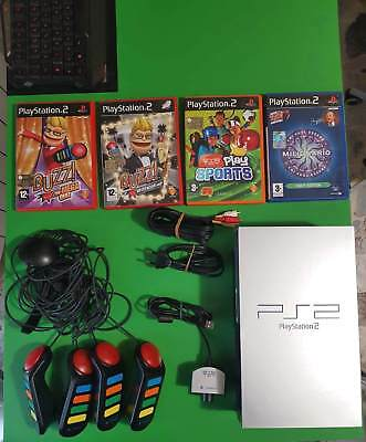 Console Sony PlayStation 2 PS2 Fat Silver Completa + Buzz Completo