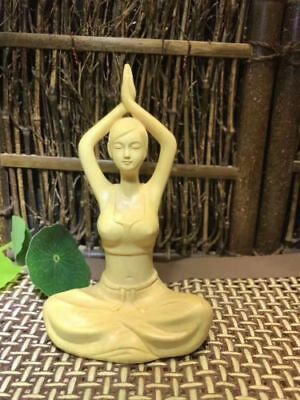 Fine Boxwood hand carved Display beautiful Yoga lady figure statue
