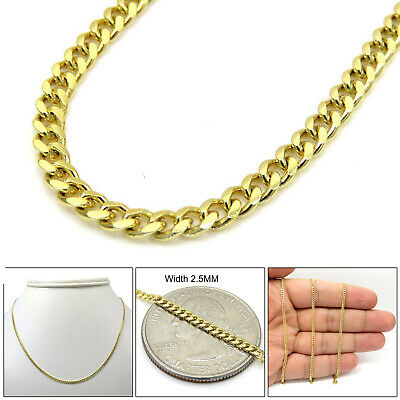 0fc9d1c3310844 10K Solid Gold Mens Womens Miami Cuban Link Chain Necklace 2.5mm 16