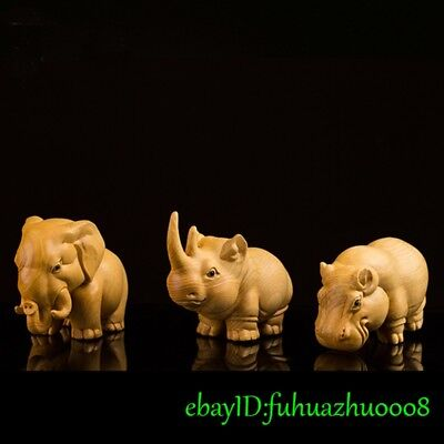 3 Pieces Set Solid Boxwood Hand Carved Rhinoceros Hippo Elephant figure statue